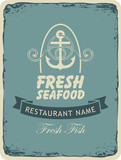Retro banner for a seafood restaurant with an anchor and ropes