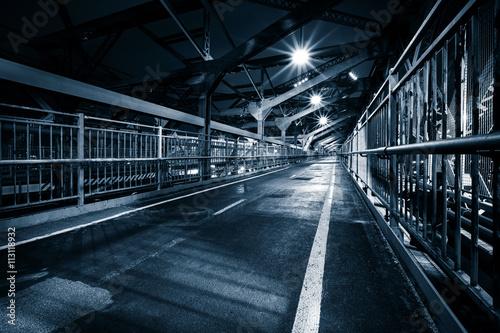 Aluminium New York Moody monochrome view of Williamsburg bridge pedestrian walkway by night in New York City