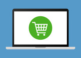 Online shopping on laptop computer flat vector illustration for apps and websites