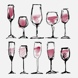 Wine glass set - collection sketched watercolor wineglasses and silhouette - 113131718