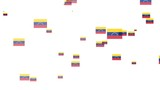 Abstract moving Venezuela flag particle on white background. Flags of Venezuela. Venezuela national flags.