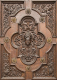 Carved wooden gate of the Basilica of Tirano