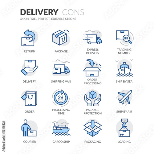 Fototapeta Line Delivery Icons