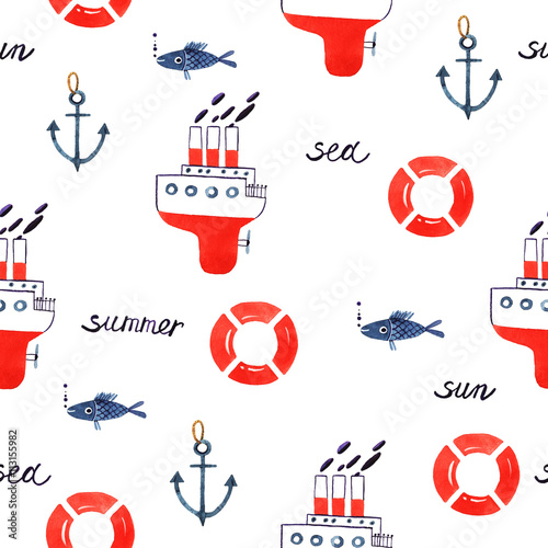 Cotton fabric watercolor element ship fish anchor lifebuoy with words