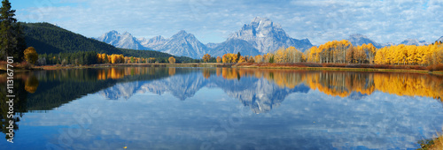Fotobehang Blauwe jeans Autumn landscape in Yellowstone, Wyoming, USA