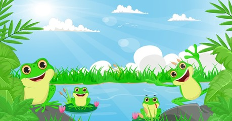 illustration of many frog playing in the river