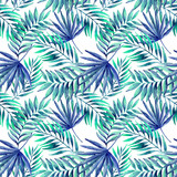 Watercolor tropical leaves seamless pattern - 113171327
