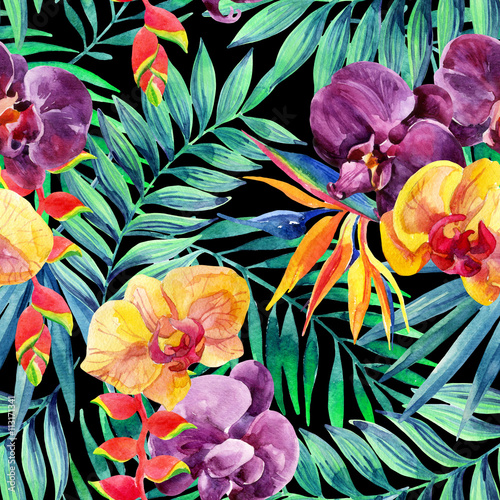 Cotton fabric Watercolor tropical leaves and flowers seamless pattern.