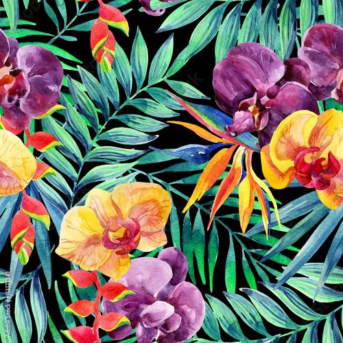 Stoffe zum Nähen Aquarell tropische Blätter und Blüten Musterdesign.