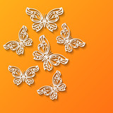 Abstract paper cut lacy flying butterflies on bright orange background. Vector illustration EPS 10
