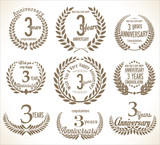 Anniversary Laurel wreath retro vintage collection 3 years