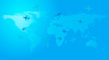 World travel map with airplanes. Vector illustration, flat design.