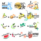 Fototapety Set of hand drawn watercolor signs of summer drinks, fruit juices and smoothies, cocktails. Vector illustrations for graphic and web design, for restaurant and bar, menu.