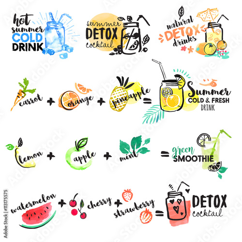 Set of hand drawn watercolor signs of summer drinks, fruit juices and smoothies, cocktails. Vector illustrations for graphic and web design, for restaurant and bar, menu. - 113175575