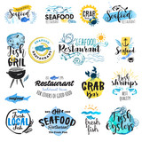 Fototapety Set of hand drawn watercolor labels and badges of seafood. Vector illustrations for graphic and web design, for restaurant, menu, market.