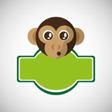 Animal design. monkey icon. Isolated illustration, white backgro