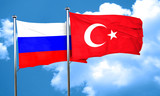 Russia flag with Turkey flag, 3D rendering