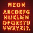 Neon font text. Lamp sign. Alphabet . Vector illustration