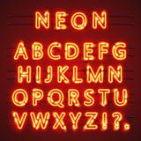 Neon font text. Lamp sign. Alphabet . Vector illustration - 113179360
