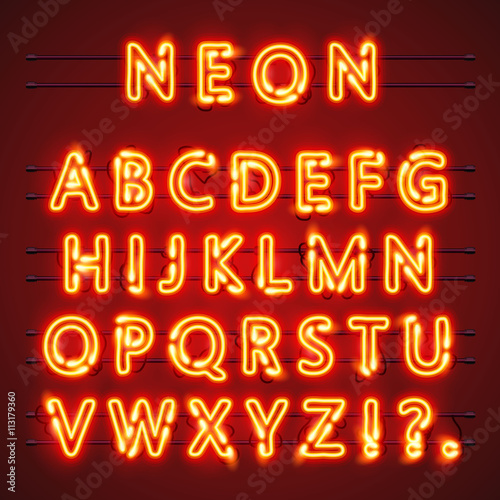 Neon font text. Lamp sign. Alphabet . Vector illustration