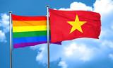 Gay pride flag with Vietnam flag, 3D rendering