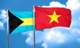 Bahamas flag with Vietnam flag, 3D rendering