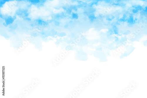 Watercolor Style Digital Artwork: The White Cloud and Blue Sky Letter Mail Color Paper Texture Background Print. Realistic Fantastic Cartoon Style Character, Background, Wallpaper, Story, Card Design
