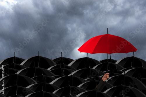 Plakat Red umbrella in Storm.