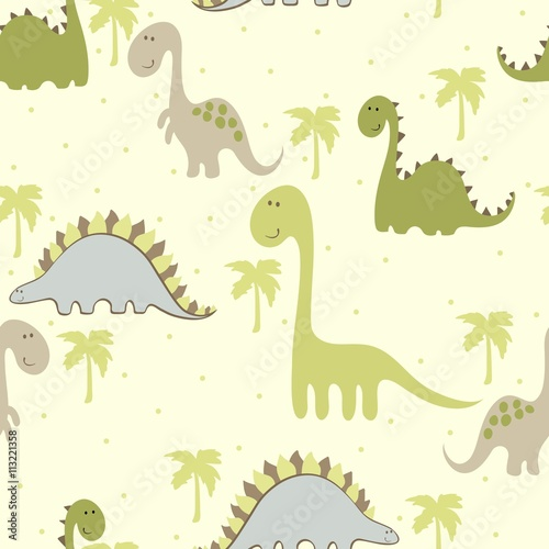 Cotton fabric vector art seamless pattern with Cartoon dinosaur