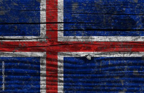 Poster Iceland grunge flag