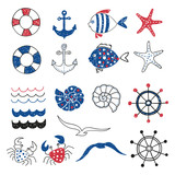 Set of cute marine decorative elements isolated on white. Marine theme design. Collection of hand drawn sea fish,  anchors, starfish, seagull, crab. Vector illustration.