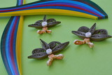 Brown paper, quilling flowers - decoration for card