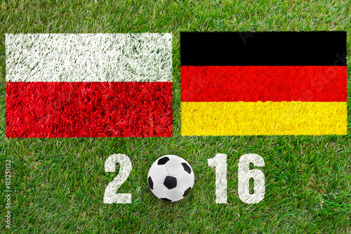 Poster football field with a ball and the two flags of Germany and Pola