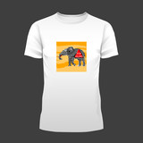 Original print for t-shirt. White t-shirt with fashionable design - Nature and wildlife protection. Elephant with Stop Killing sign. Vector Illustration