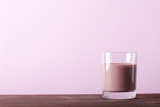 chocolate milk on a pink background