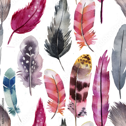Cotton fabric pink pattern of watercolor feathers