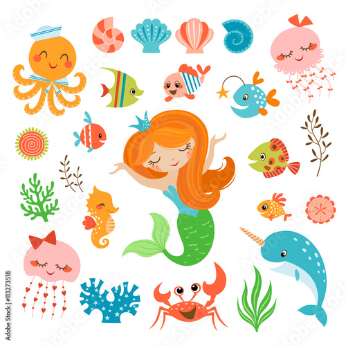 Poster Mermaid and sea friends