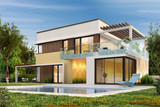 Fototapety Modern house with wooden elements and a swimming pool