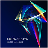 Fototapety Lines shapes light abstract on blue dark background. Vector expanding light. Smooth abstract background with a slight glow effect and a space for your text or images