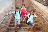 Kids going down the stairs