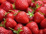 Fototapety Strawberry background.  Red ripe organic strawberries on market