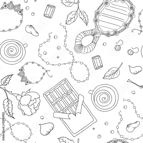 Materiał do szycia seamless vector pattern doodle of many elements.Women's accessories.Romantic pattern