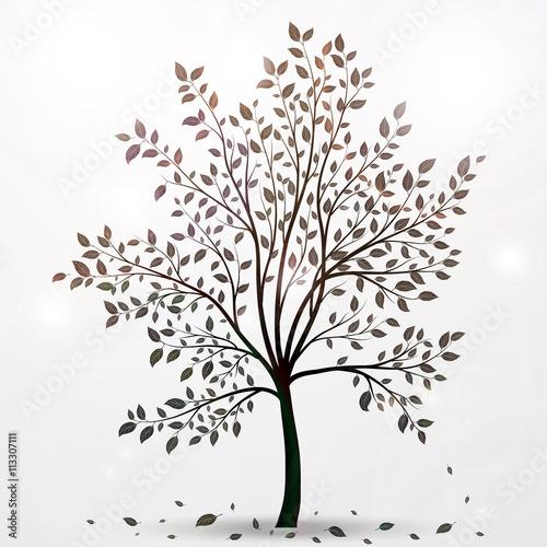 Naklejka Tree silhouette with leaves