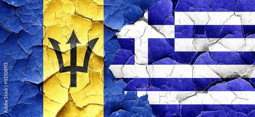 Zdjęcia na płótnie, fototapety, obrazy : Barbados flag with Greece flag on a grunge cracked wall