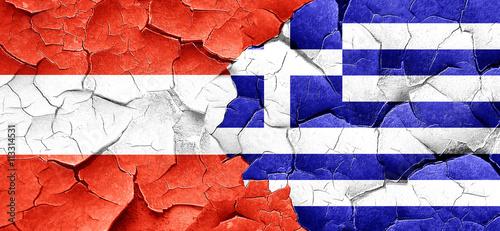 Zdjęcia na płótnie, fototapety, obrazy : Austria flag with Greece flag on a grunge cracked wall