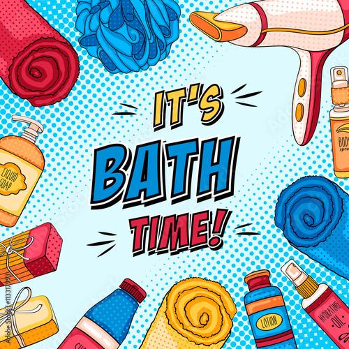 obraz lub plakat Hygiene pop art background with bathroom accessories