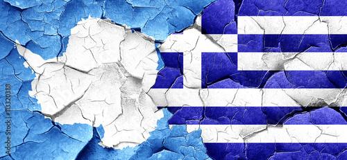 Zdjęcia na płótnie, fototapety, obrazy : antarctica flag with Greece flag on a grunge cracked wall