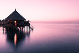 Overwater Bungalow. Relax evening on a tropical island. Maldives. - 113321553