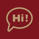 The hi icon. Greet and hello symbol. Flat