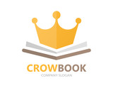 Vector book and crown logo concept